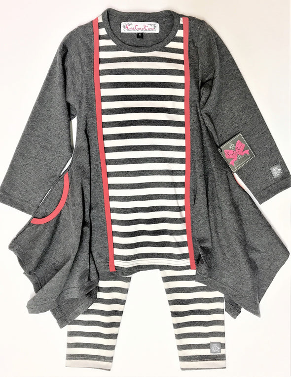 KidCuteTure 2Pc Charcoal And White Striped Tunic Set