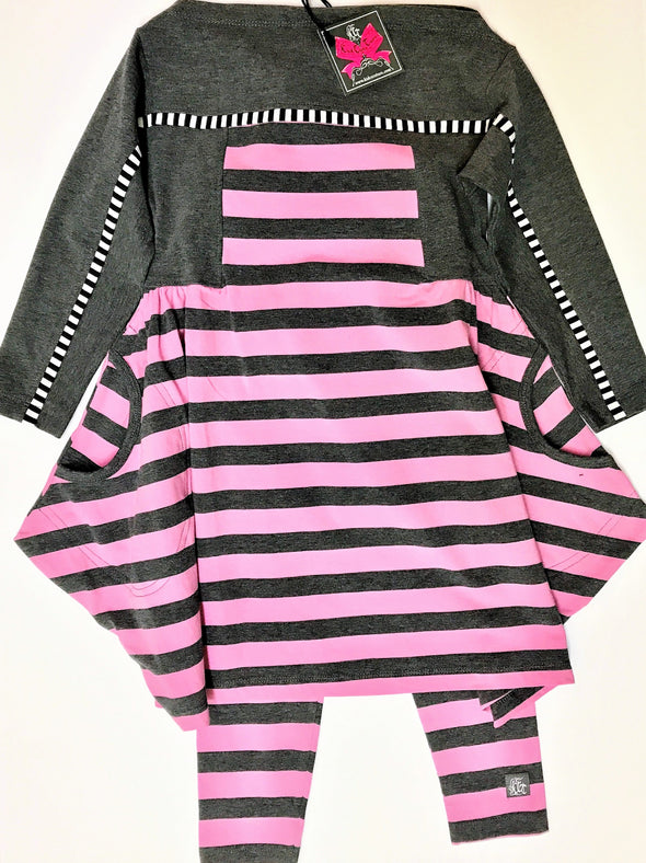 KidCuteTure 2Pc Charcoal And Pink Striped Dress