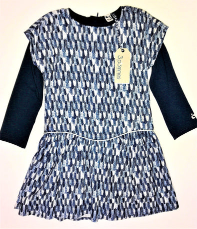 3Pommes Girls 1Pc Blue/White Drop Waist Dress