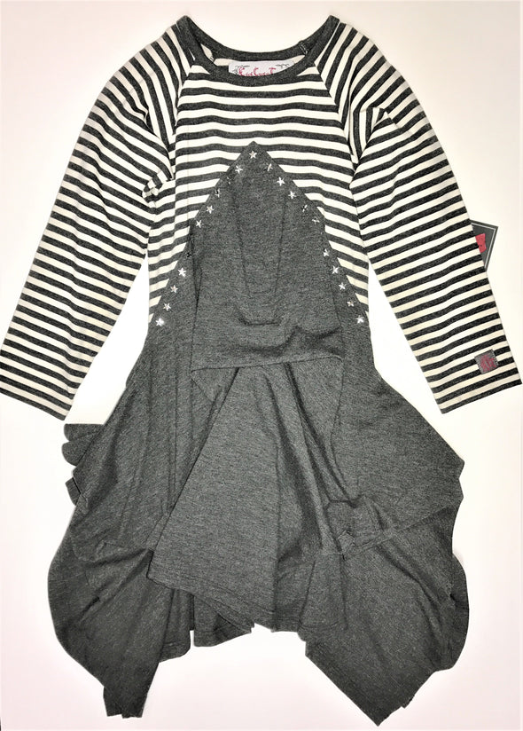 KidCuteTure Charcoal/Stripes And Stars Dress