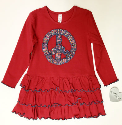 Love U Lots Red Tiered Dress With Applique Peace Sign