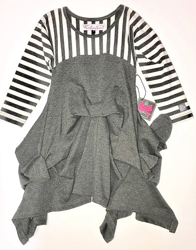 KidCuteTure Charcoal with Stripes Carmen Pickup Dress