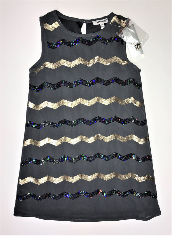 3Pommes Dark Grey Chiffon Tank Style Dress Fun Alternating Blk and Gold Sequin Detail