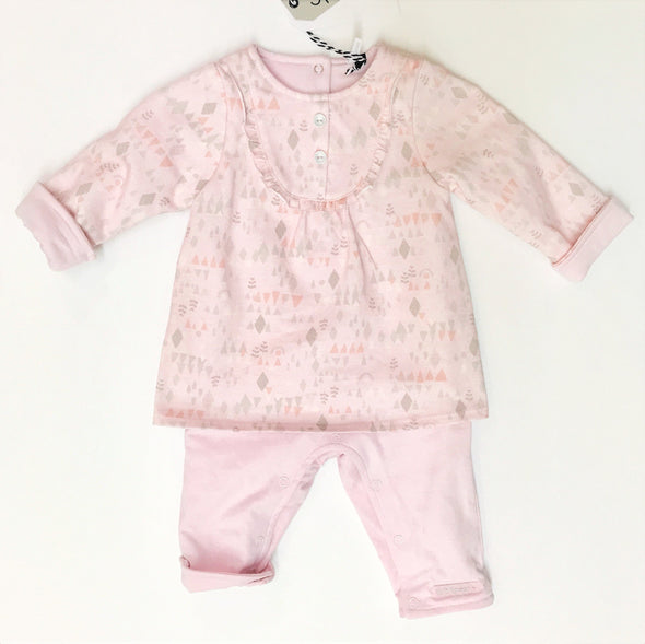 3Pommes Soft Pink 100% Cotton Double Lined 1Pc Romper
