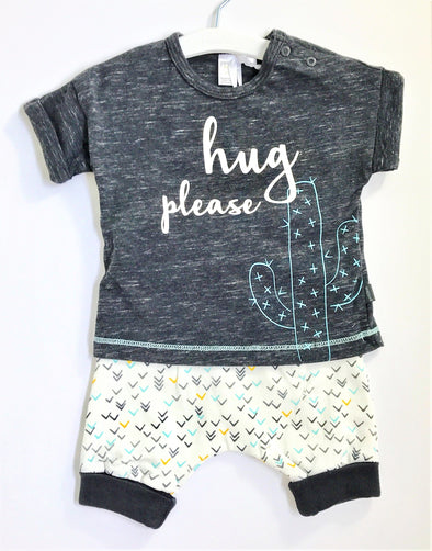 Petit Lem Charcoal/Blue 2Pc Short Set