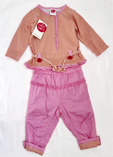 Cakewalk Infant Girls 2Pc Pink/Orange Pant Set