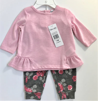 Splendid 2Pc Light Pink and Floral Legging Set