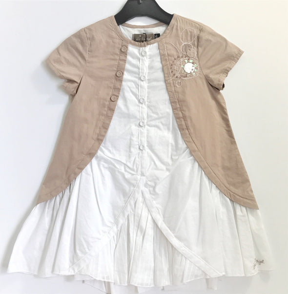 Jean Bourget Of France White and Beige Dress