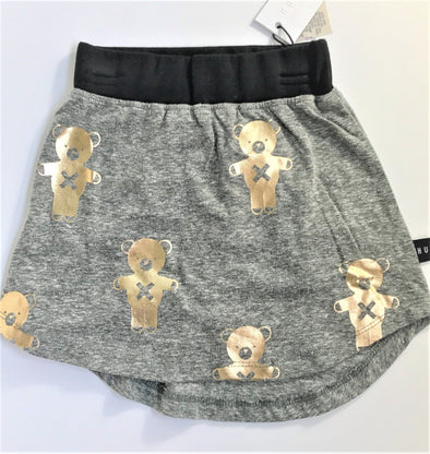 HUXBABY CHARCOAL SKIRT WITH GOLD PRINTED TEDDY BEARS