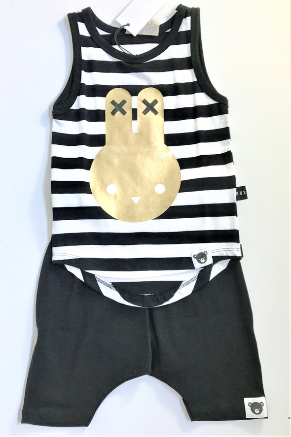 HUXBABY 2Pc Blk/White Stripe Sleeveless Top With Harem Short
