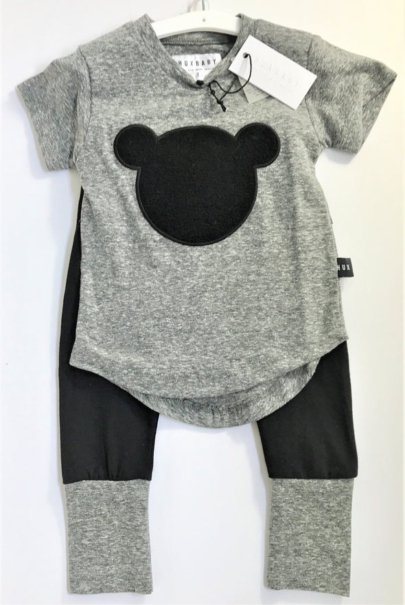 HUXBABY BLK/Grey ORGANIC COTTON 2PC LEGGINGS SET WITH TEDDY  BEAR APPLIQUE