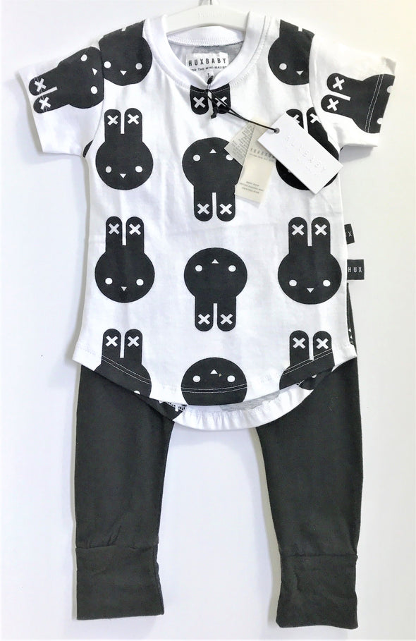 HUXBABY BLK/WHT ORGANIC COTTON 2PC LEGGINGS SET WITH PRINTED BUNNIES