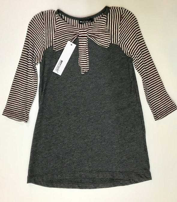 LA MADE KIDS CHARCOAL AND WHITE STRIPED DRESS