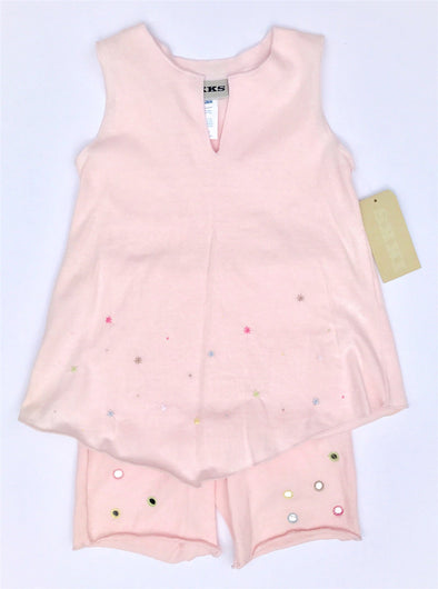 IKKS 2Pc Soft Cotton Knit Pink Sleeveless Dress And Bike Short