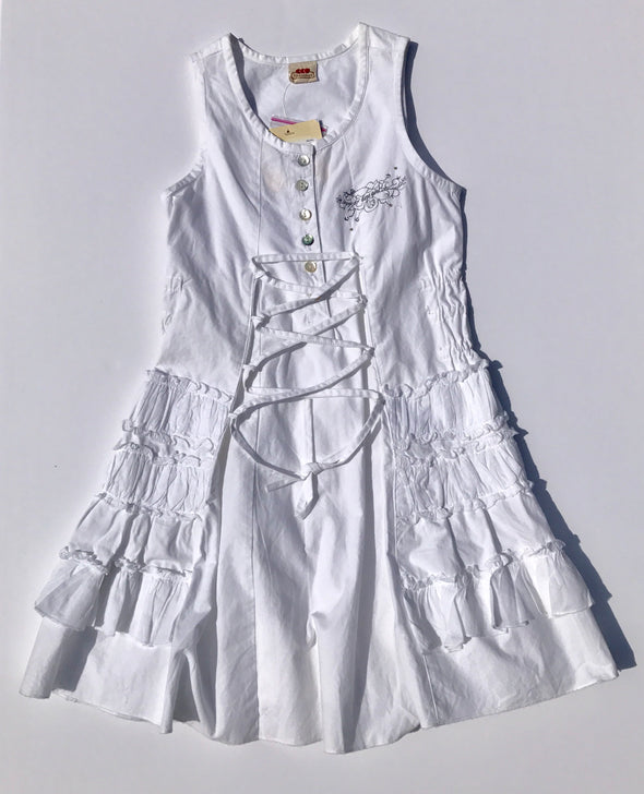 3Pommes White Tiered Front Lace-up Cotton Dress
