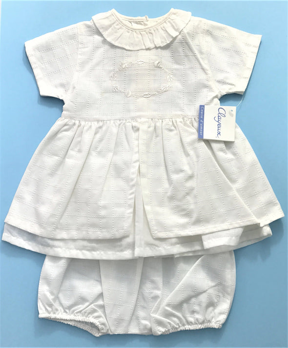 Clayeux OF France 2Pc Dress With Diaper Cover