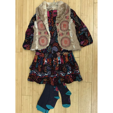Catimini 3Pc Fall/Winter South Western Dress with Matching Tights and a Vest