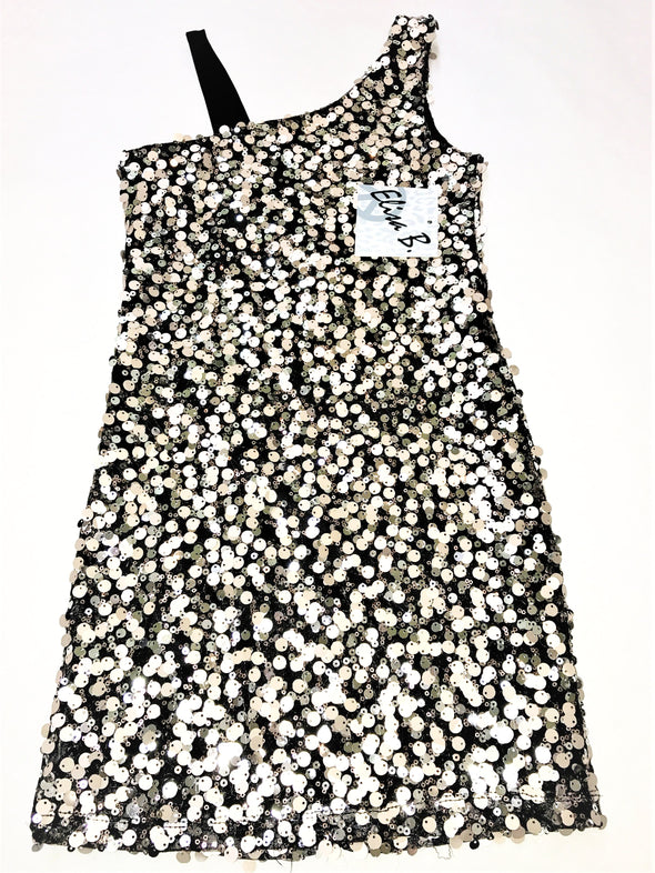 Elisa B Gold/Black One Shoulder Sequin Girls Dressy Dress