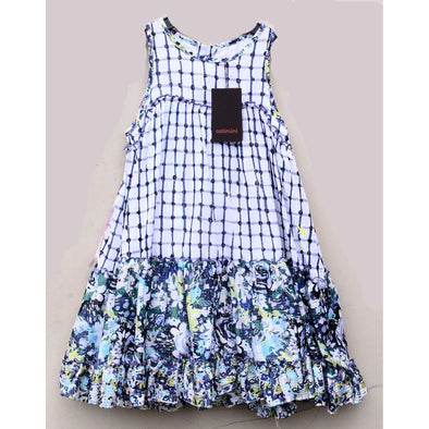 Catimini Girls Blue Mixed Print Floral Dress