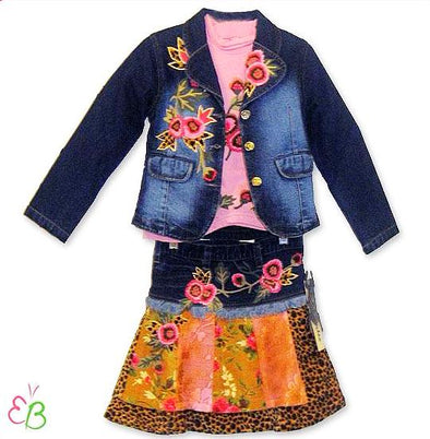 Beetlejuice of London Fall/Winter Girls 3Pc Denim Skirt Set