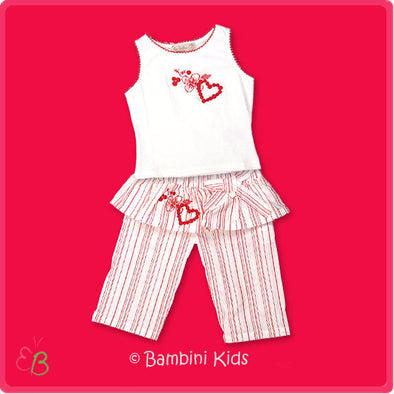Les Bebes by Floriane of France Girls Dressy 2pc Skirted Pant Set
