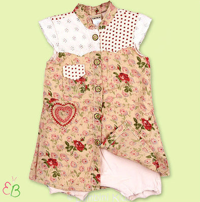 IKKS Infant Girls 1Pc Floral Romper Dress
