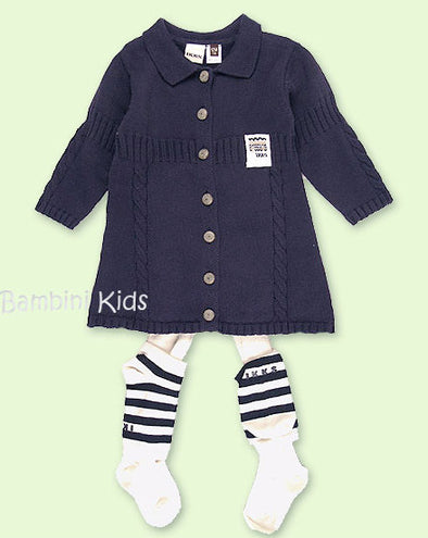 IKKS of France Girls Navy Classic Knit Dress with Tights and Leg Warmers