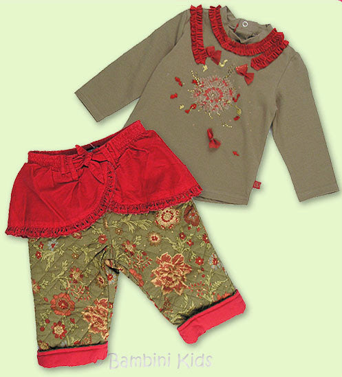 Jean Bourget 2Pc Infant Girls Fall/Winter Holiday Pant Set