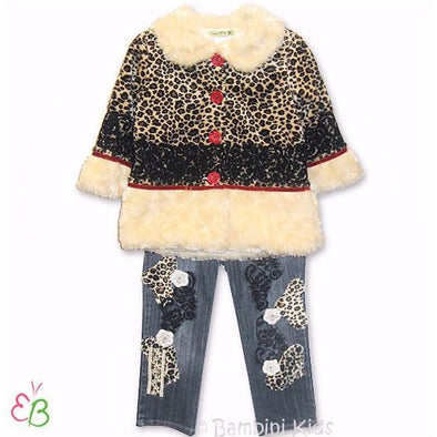Little Mass Girls Vintage 3Pc Animal Print Jacket/Pant Set