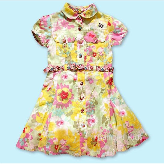 OILILY  Girls Floral Linen Dress