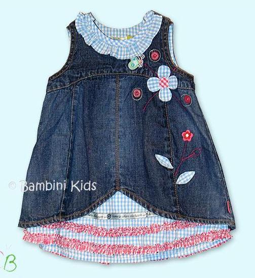 Oilily Girls Denim Jumper with floral Applique and Ruffles