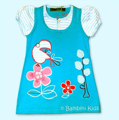 Oilily  Infant/Toddler  Girls Very Soft Cotton Knit Dress With Beautiful Floral Applique .