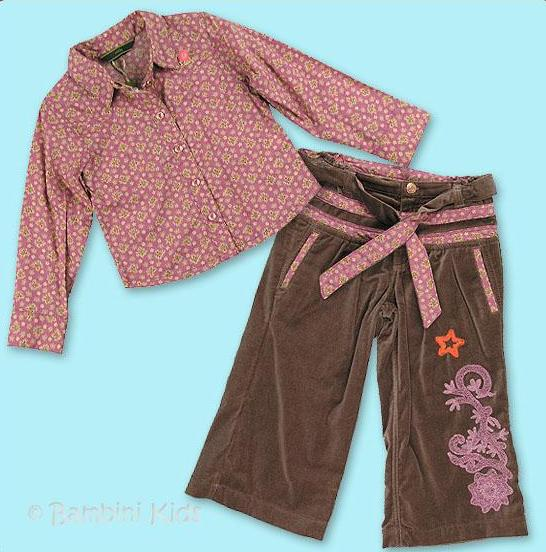 Oilily Girls 2Pc Vintage Velvet Wide Leg Pant and Button Down Ditsy Print Top