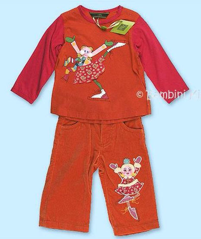 Oilily 2Pc Infant Girls Velvet Pant Set With Skater Applique