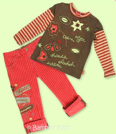 Pampolina Fall/Winter Girls 2Pc Vintage Pant Set