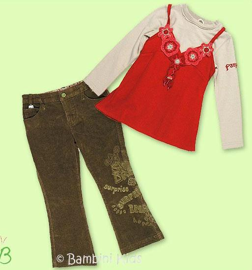 Pampolina Girls 3Pc Fall/Winter Vintage Pant Set