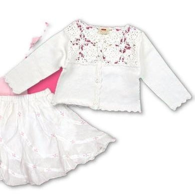 3Pommes Infant Girls 100% Cotton Crochet Cardigan