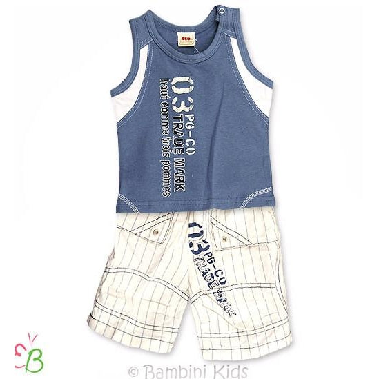 3Pommes of France Infant Boys 2Pc Short Set