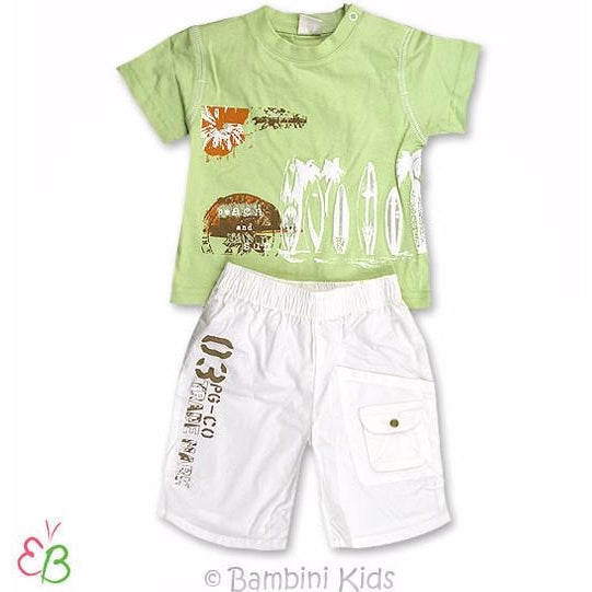 3Pommes Infant Boys 2Pc Short Set - Hawaii Surfer Theme
