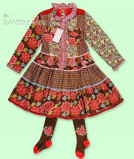 ROOM SEVEN Infant Girls Fall/Winter Tiered Floral  Fine Wale Corduroy Dress With Tights