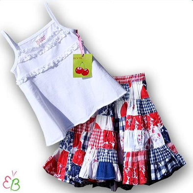 ROOM SEVEN Girls 2Pc Spring/Summer Floral Patchwork Skirt Set