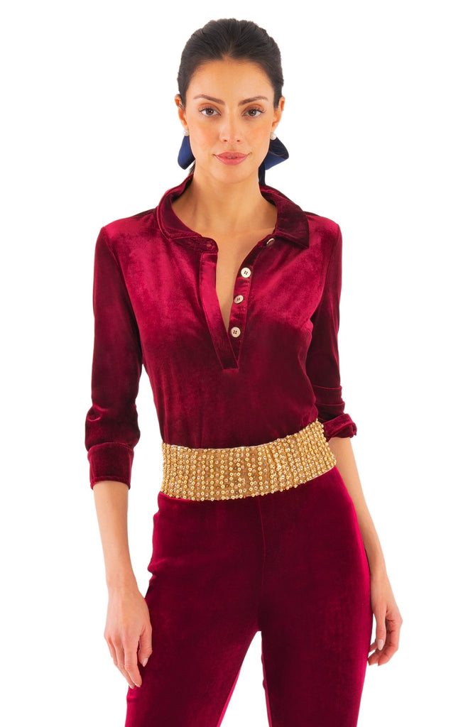 Gretchen Scott Womens Pop Over Top In Burgundy Posh Velvet TPPOPV FW19