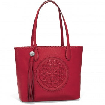 Brighton Red Leather Tote Gabriella Medallion From The Ferrara Collection - Saratoga Saddlery & International Boutiques