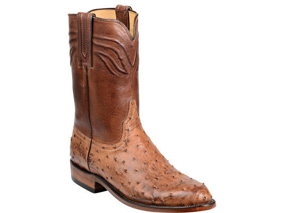 Lucchese Men's Augustus Ostrich Roper GY3009 - Barnwood/Pecan