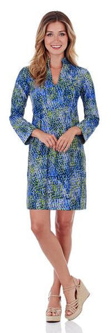 Jude Connally Lisa Keyhole Dress in Painted Snakeskin Soft Blue