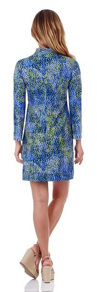 Jude Connally Kate Tunic Dress in Painted Snakeskin Soft Blue