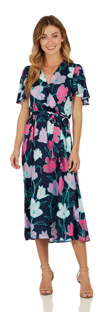 Jude Connally Womens Camille Faux Silk Dress in Tulip Navy - Saratoga Saddlery & International Boutiques