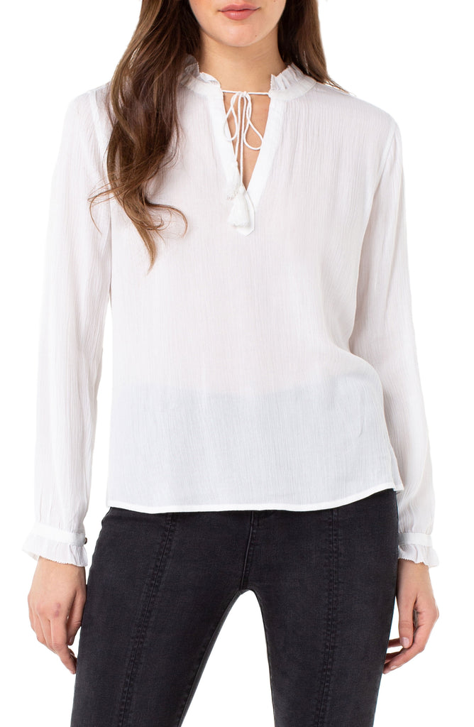 Liverpool Ruffle Neck Tie-Front Blouse LM8037Y35