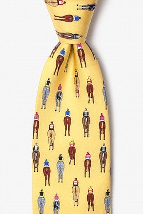 Alynn Men's Silk Tie - Bringing Up The Rear Yellow