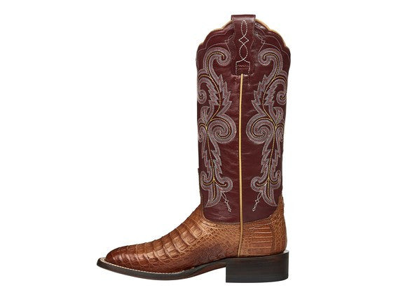Lucchese Women's Annalyn Belly Caiman Crocodile Boot M4941 - Tan/Redwood